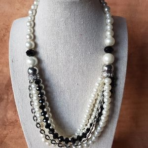 Pearl, black, silver statement necklace